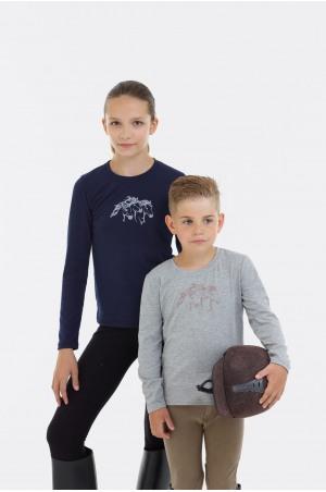 Футболка детская для верховой езды, длинный рукав - IVY, одежда для конного спорта