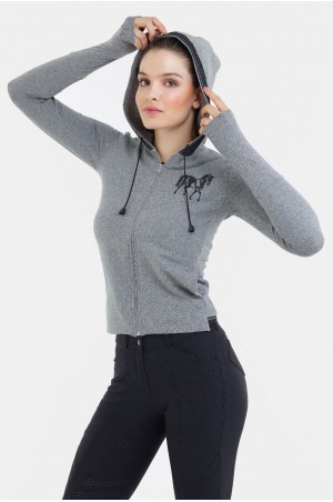 Riding Cotton Hoodie with Lace Inserts - GRAND, Equestrian Apparel
