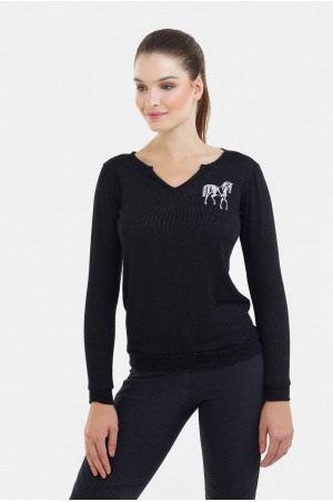 182-106203 Riding Viscose Jersey Loose Sweater - GRAND, Equestrian Apparel