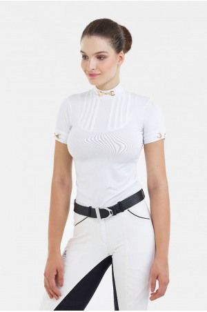 Riding Show Shirt ROSE BITS - Short Sleeve, Technical Equestrian Apparel