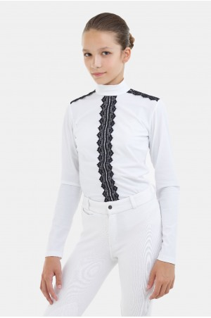 Riding Show Shirt - PURITY LACE Long Sleeve, Technical Equestrian Apparel