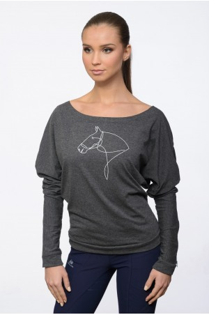 Riding Shirt LYNA - Long Sleeve, Riding Top Boat Neck, Loose Fit Equestrian Apparel