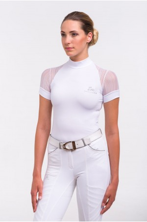Riding Show Shirt WHITE CONTESSA - Short Sleeve. Technical Equestrian Apparel