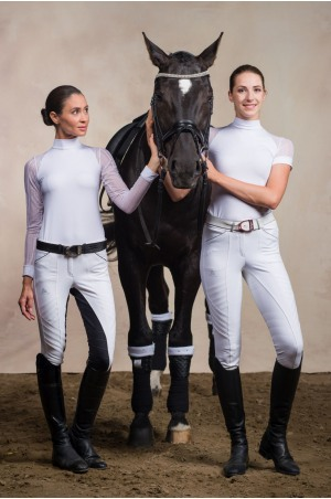 Riding Show Shirt WHITE CONTESSA - Long Sleeve. Technical Equestrian Apparel