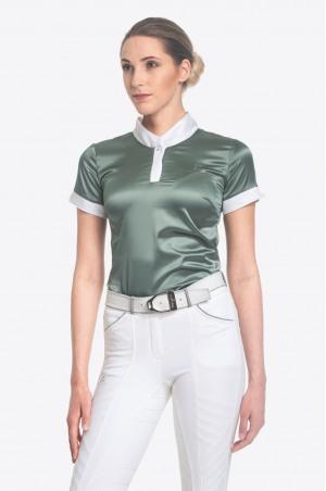 Riding Show Shirt DUSTY GREEN - Short Sleeve, Equestrian Apparel