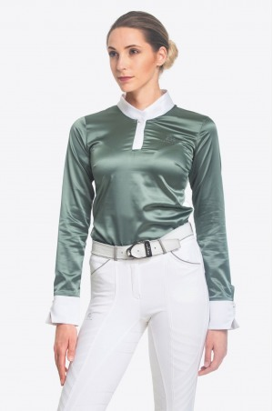 Riding Show Shirt DUSTY GREEN - Long Sleeve, Equestrian Apparel