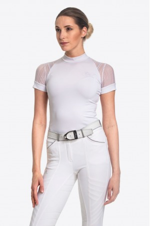 Riding Show Shirt WHITE CONTESSA - Short Sleeve, Technical Equestrian Apparel