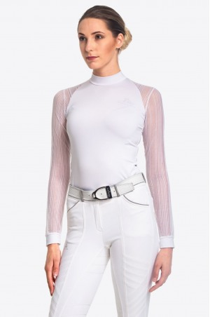 Riding Show Shirt WHITE CONTESSA - Long Sleeve, Technical Equestrian Apparel