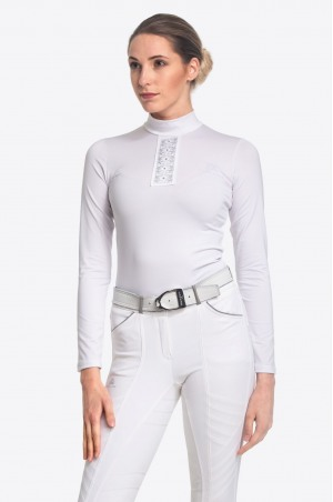 Riding Show Shirt SILVER POP - Long Sleeve, Technical Equestrian Apparel