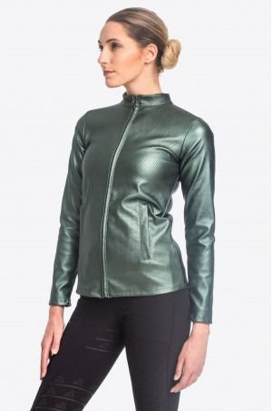 Riding Faux Leather Coat DUSTY GREEN JAX - Technical Equestrian Apparel