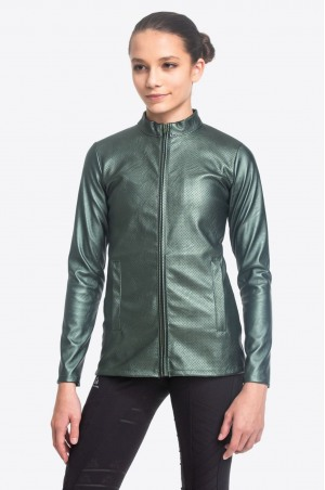 Riding Faux Leather Coat DUSTY GREEN JAX - Technical Equestrian Apparel