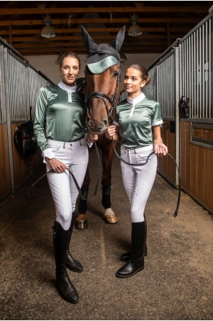 Riding Show Shirt DUSTY GREEN - Short Sleeve, Equestrian Apparel