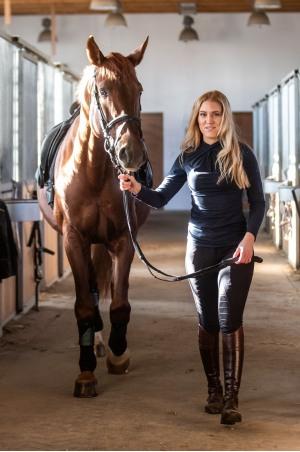 Топ для верховой езды CASUAL CHIC - длинный рукав, спецодежда для конного спорта из хлопчатобумажной ткани