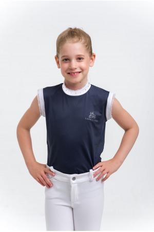 Polo de concours CRYSTAL KIDS-Sans manches ,Tenue technique de compétition équestre