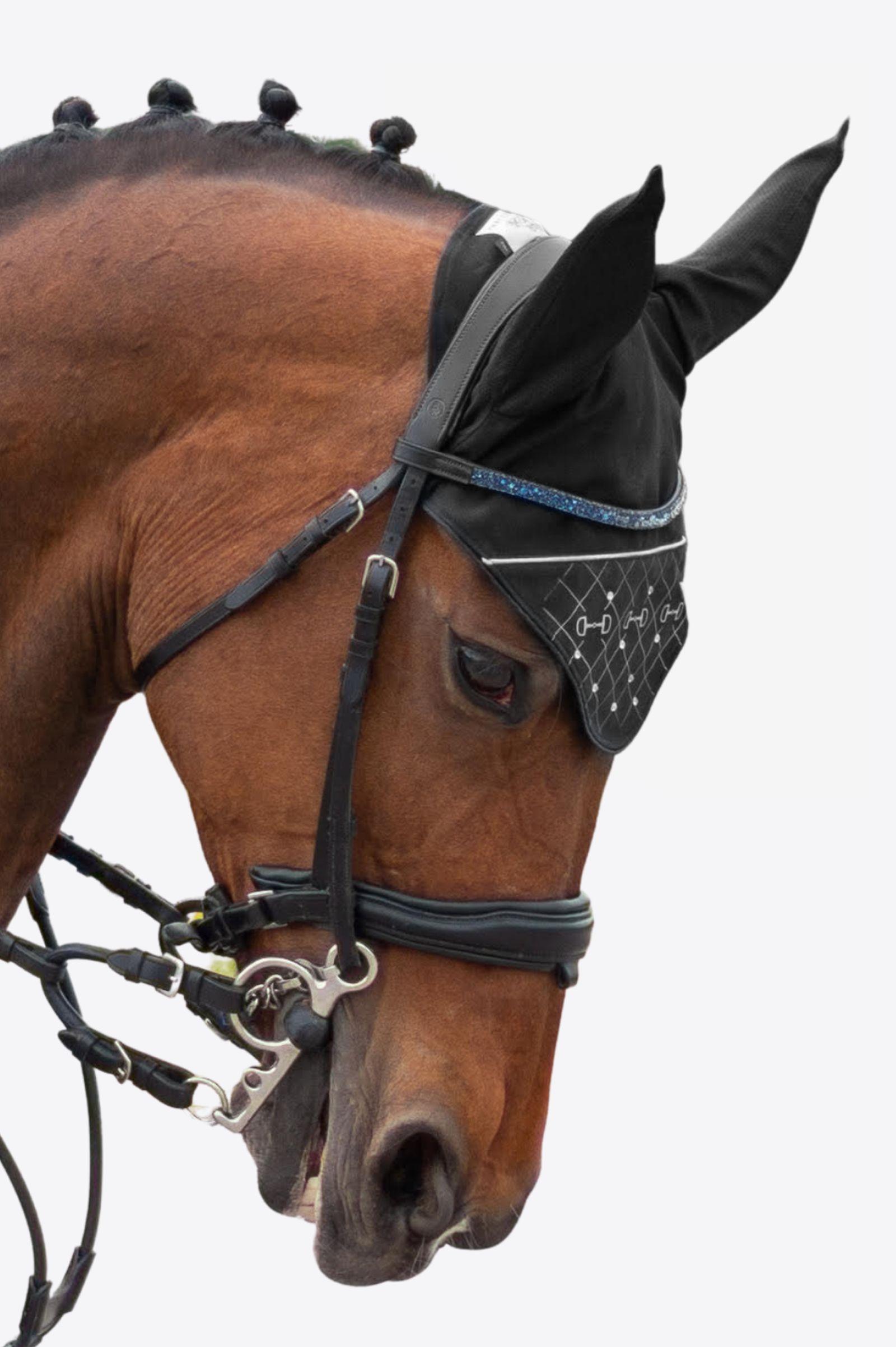 FLY VEIL HORSE EAR NET CROCHET EQUESTRIAN /& CRYSTAL PURPLE COLOR FULL//COB//PONY