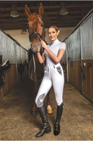 Riding Technical Breeches ROYAL SPORT LACE 'J' - Knee Patch Silicon, Technical Equestrian Apparel