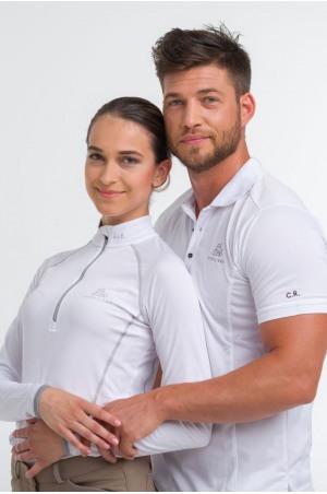 High Performance Riding Show Shirt TOSCA MONOGRAM, Long Sleeve Technical Equestrian Show Apparel