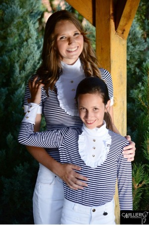 SAILOR STYLE Long Sleeve Racing Shirt with Ruffle Decorated