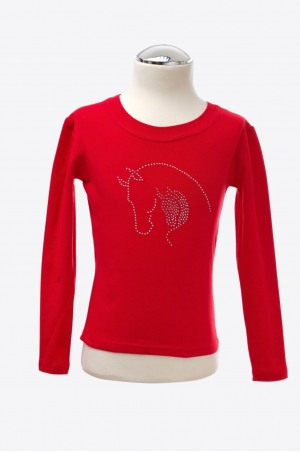 EMOTIONS Long Sleeve Top with Mare and Foal Heads Crystal De