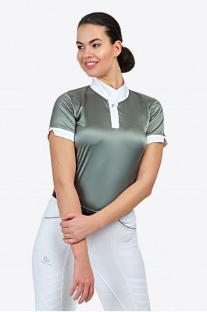 Reiter Turniershirt DUSTY GREEN - Kurzarm, Reitsportbekleidung