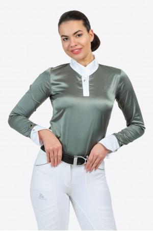Riding Show Shirt DUSTY GREEN - Long Sleeve, Equestrian Apparel
