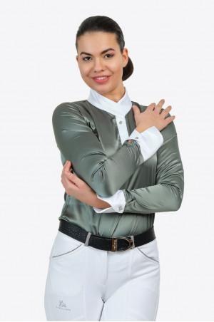 Reiter Turniershirt DUSTY GREEN - Langarm, Reitsportbekleidung