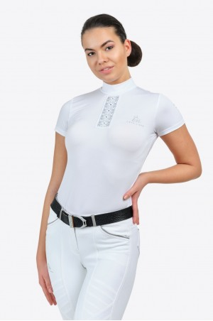 Блуза для выступлений SILVER POP - короткий рукав, из технической ткани
