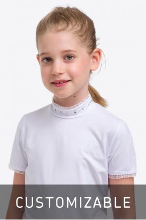 Riding Show Shirt CUSTOMIZED CRYSTAL KIDS - Short Sleeve, Technical Equestrian Apparel