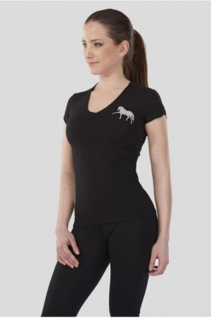DREAM HORSE Short Sleeve V Neck Shape Top