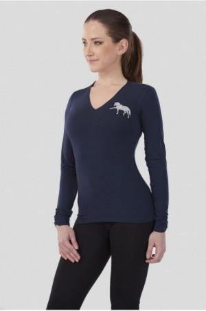 171-106111 DREAM HORSE Long Sleeve V Neck Shape Top
